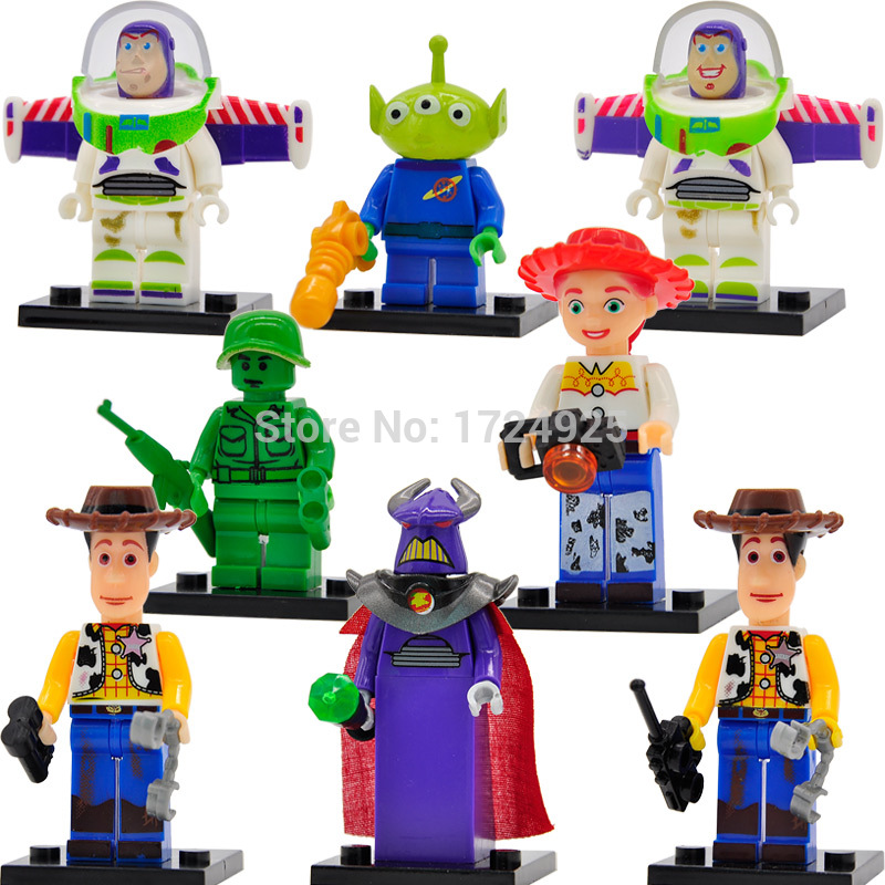 JR1712 Toy Story Cartoon Figure Woody Buzz Lightyear Aliens Jessie 8pcs/lot Building Blocks Set Models Brick Toys toy story juniors costume tunic tank dress buzz lightyear costume fancy dress toy story jessie costume buzz lightyear costume