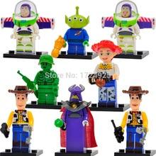 Aliens Toy Story Dos Desenhos Animados Figura Woody Buzz Lightyear Jessie JR1712 8 pçs/lote Building Blocks Set Modelos Brinquedos Tijolo