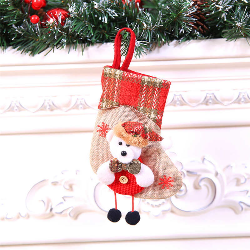 Mini Christmas Stockings Socks Santa Claus Candy Gift Bag Christmas Decorations for Home Festival Party Ornaments  #2o22 (10)