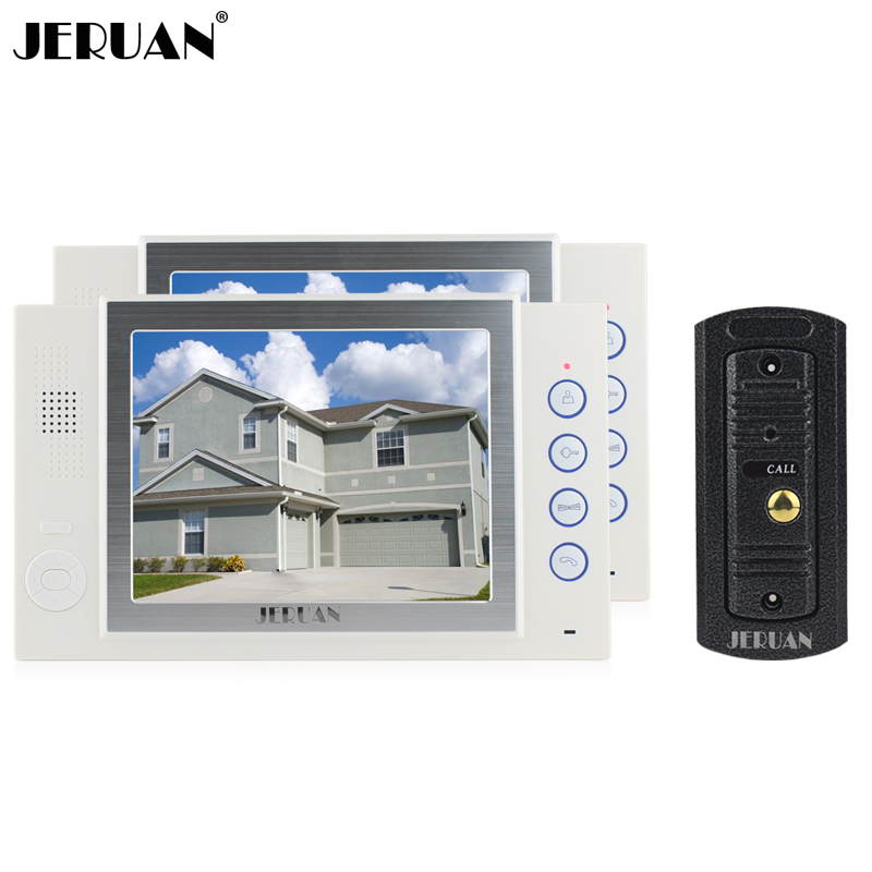 JERUAN 8 inch LCD screen video doorphone recording doorbell monitor intercom system Mteal IR pinhole Camera FREE SHIPPING