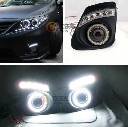 special car for Toyota corolla 11-13 angel eyes led drl daytime running light Fog lamps highlighted Free shipping!! universal pu leather car seat covers for toyota corolla camry rav4 auris prius yalis avensis suv auto accessories car sticks