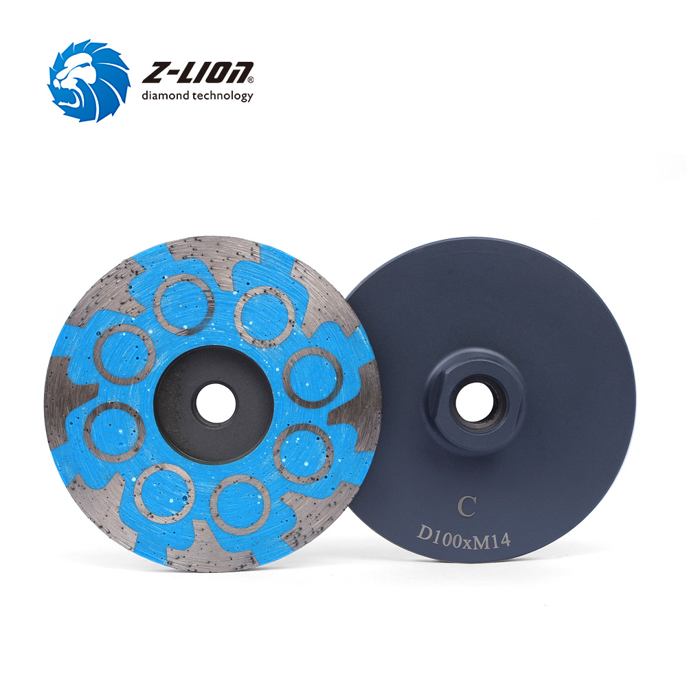 Z-LION 4 Resin Filled Diamond Grinding Wheel M14 Thread Diamond Sanding Disc for Granite Marble Concrete Coarse Medium Fine free shipping coarse medium fine grit 4 inch diamond turbo cup wheels m14 thread for grinding concrete and stone 3pcs set