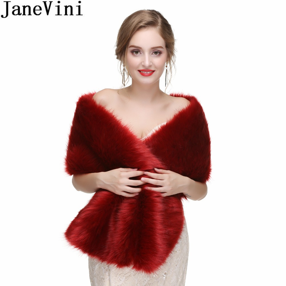 JaneVini 2018 Women Bolero Bridal Shawl Faux Fur Wrap Bolero Wedding Cape Bridal Shawl Fur Cape Winter Bride Party Shawls Warm