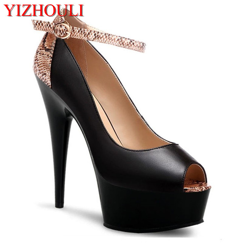 15cm high documentary shoes speak to princess serpentine color high-heeled shoes fashion shop new style