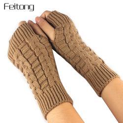 Мода Трикотажные Рука Перчатки Без Пальцев Женщины Мужская Зимой Шерстяные Мягкие Теплые Варежки женские Перчатки для Фитнеса Luvas Де Inverno # ДЖО