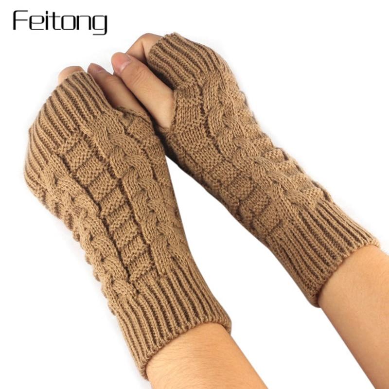 Damenhandschuhe Muqgew Schöne Frauen Mädchen Exquisite Strick Häkeln Arm Fingerlose Warme Thermische Handschuhe Winter-weiche Warme Handschuh Fäustlinge