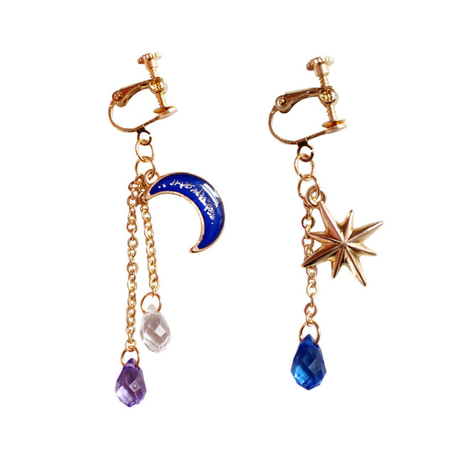 Asymmetrical Gold Color Long Tels Earrings Chain Stars Blue Moon Clip Without Piercing For Women