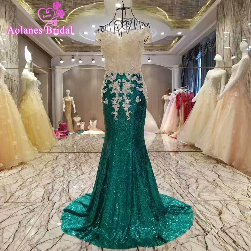AOLANES Vestido de noiva Cap manches paillettes sirène longue robe de soirée vert Appliques perles cristaux de bal robes de soirée