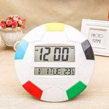 Creative football alarm clock for children's gift Student bedside clock home electronic lcd digital wall clock with calendar