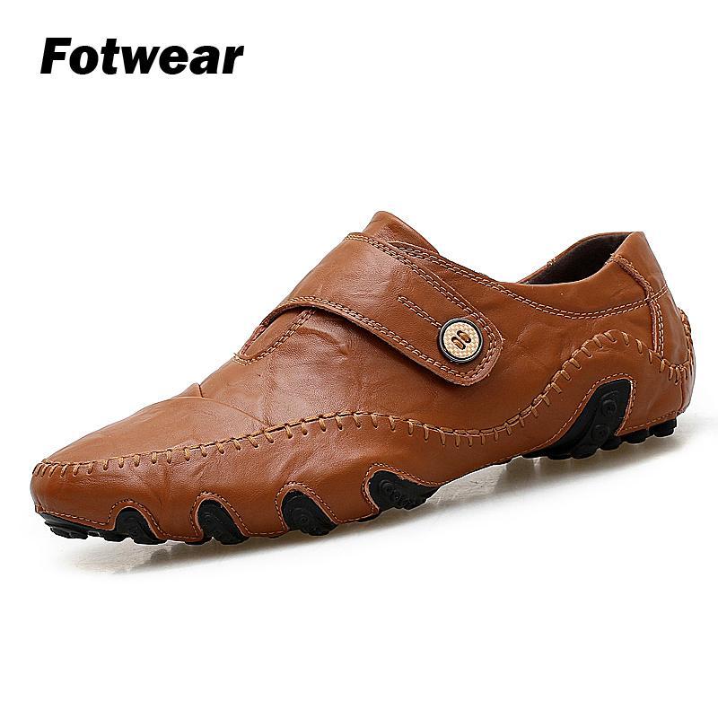 Chaussure mocassins hommes Hommes chaussures décontractées Octopus style avec un bouton chaussures en cuir Leightweight Doux Semelle Extérieure En Caoutchouc À Coudre Ligne