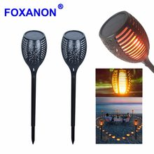 LED Solar Flame Flickering Lawn Lamps Led Torch Light Realistic Dancing Flame Light Waterproof Outdoor Garden Decor Flame Lamp(China)