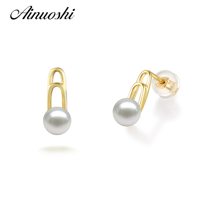 AINUOSHI Fashion 18K Yellow Gold Earrings Natural Fresh Water Pearl 7.5-8mm Round Pearl Women Wedding Engagement Earring Jewelry best lady special design bohemian wedding natural fresh water pearls earring women fashion dangle jewelry multi color earrings