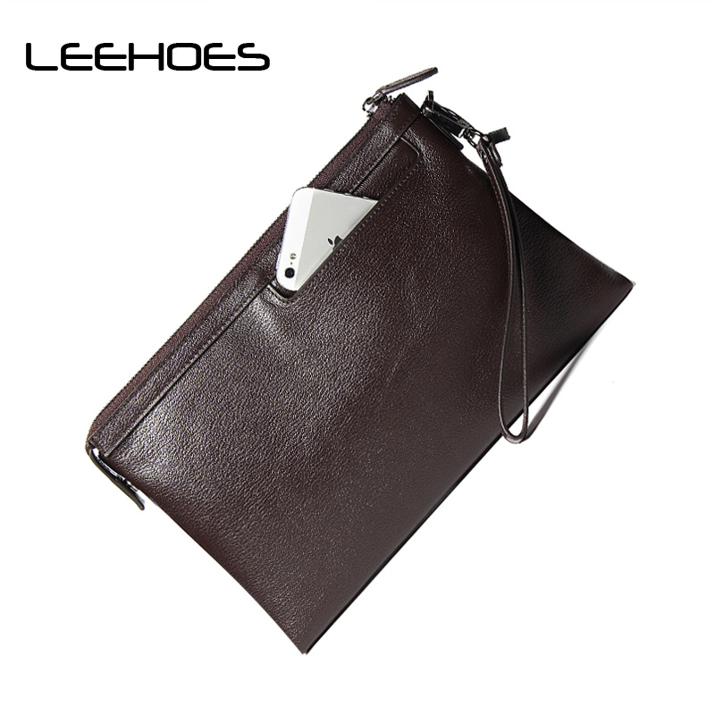 цены Men's Clutches Large Capacity Hand Bag Genuine Leather Clutch Bag First Layer Leather Fashion Phone Wallet Simple Zipper Purse