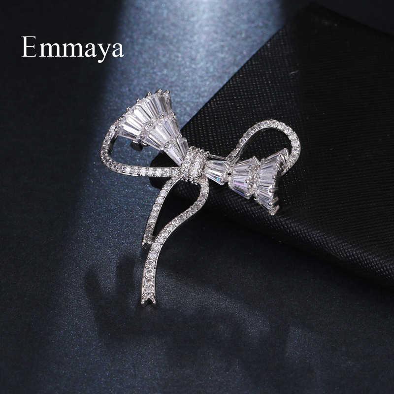 Emmaya Emas Putih AAA Cubic Zircon Ikatan Simpul Bros untuk Wanita Fashion Perhiasan Gaun Mantel Aksesoris Lucu Hadiah Pernikahan