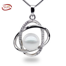 2015 new Free Delivery design10-11mm Pure Pearl Pendant Good Spherical White Freshwater Pearl in 925 Silver