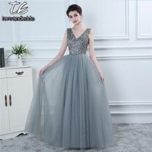 989e81afa70 Famoso diseño vestido gris de tul mucho colorido cordón imitación de baile vestido  de piso longitud vestido de noche largo fiest.