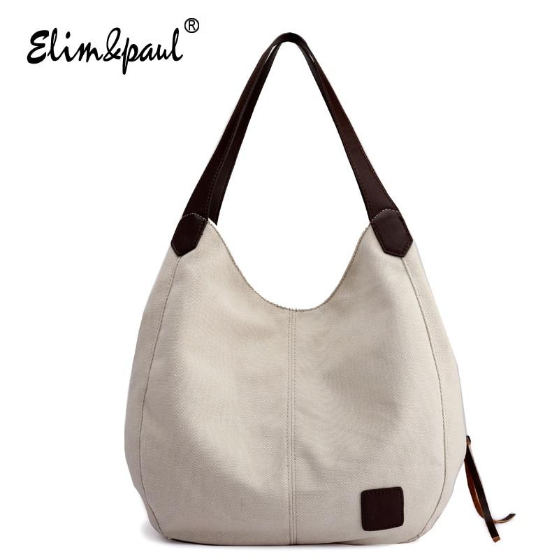 women multi layer canvas handbags new fashion wild multi pocket shoulder bag large casual summer
