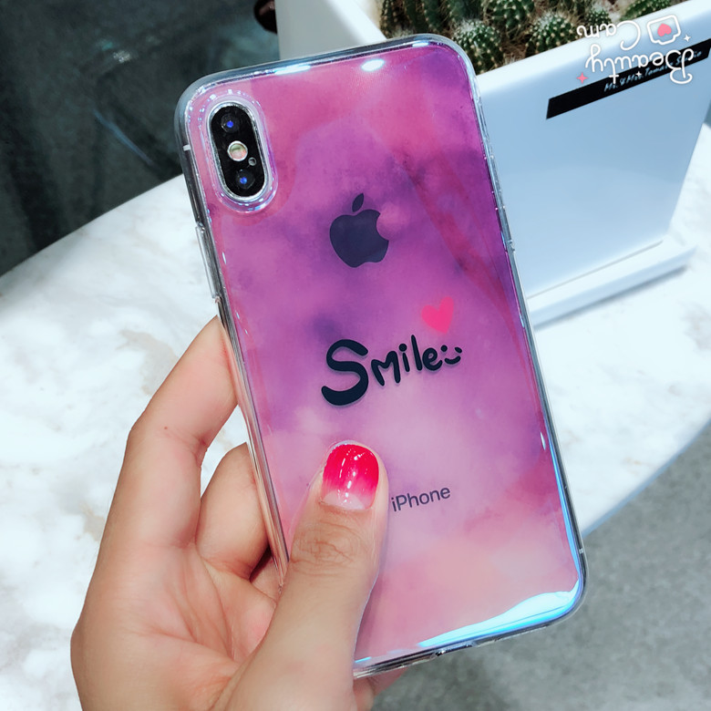 Shine Korea Smile Fancy Glossy Mobile Phone Clear Soft TPU Cover Casing For iPhoneX 8/6s 7plus Shell Protection