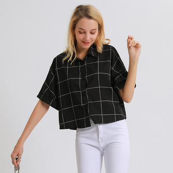 Crop Top Women Loose Button Down Checked Shirt Summer Blouse Cardigan White Striped Tops 2019