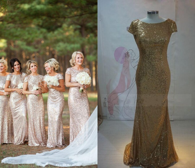 Popular Rose Gold Sequin Wedding Gown-Buy Cheap Rose Gold Sequin ...