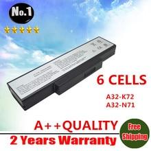 Al por mayor nueva 6 celdas de batería portátil para asus a72 k72 k73 n71 n73 x77 series a32-k72 a32-n71 envío libre