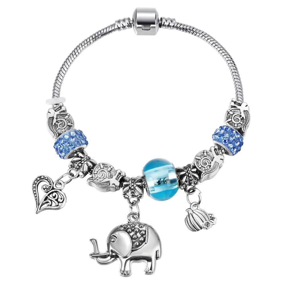 Pink Crystal Charm Silver Bracelets & Bangles for Women  Beads Silver Bracelet Femme Jewelry 7