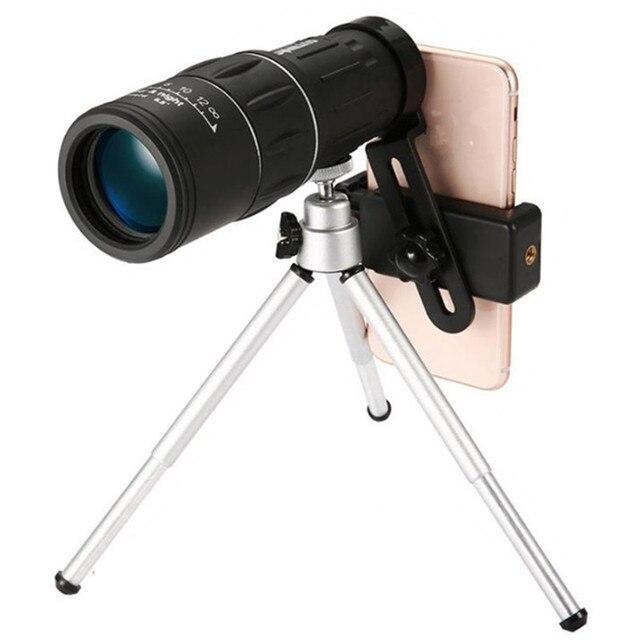 16X52 BAK4 Professional Eyepiece Telescope HD Zoom Monocular Handheld Scope for Outdoor Hiking Universal phone holder tripod