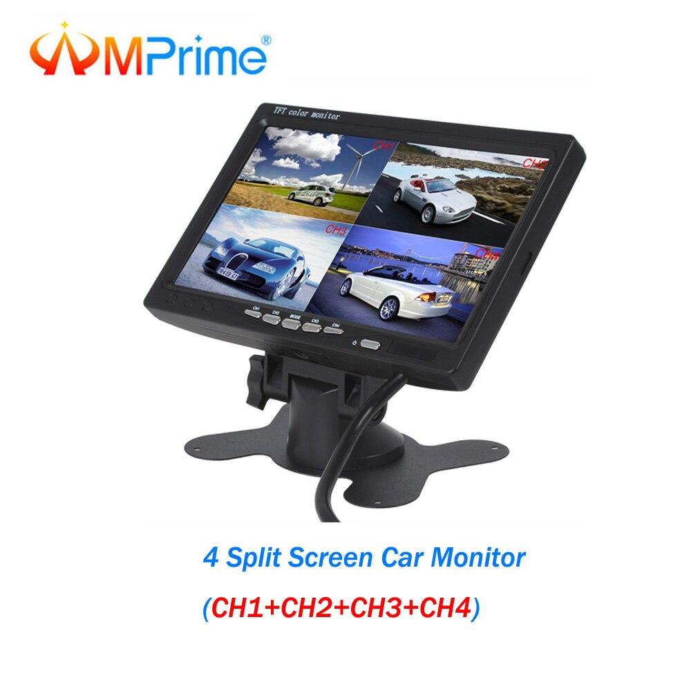 AMPrime 7 pouces 4 écran partagé moniteur de voiture DC 12 V 4 canaux TFT LCD affichage pour système de caméra de recul moniteur de vue arrière de voiture