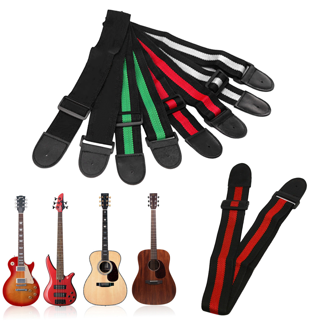 Hot Sale 95cm-158cm Adjustable Durable Nylon Guitar Strap Electric Acoustic Bass Guitar Strap Ukulele Belt With PU Leather Ends