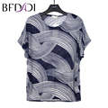 BFDADI 2017 Summer Shirts Large size Women's Hollow Mesh Shirt print casual Breathable Ladies T-shirt Bats sleeves top tees 9006