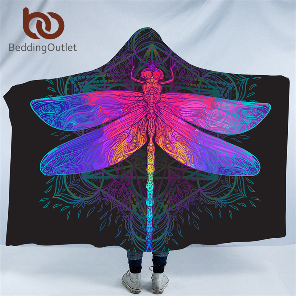 BeddingOutlet Dragonfly Hooded Blanket Mandala Colorful Sherpa Fleece Wearable Throw Blanket Adult Purple Pink Insect Bedding