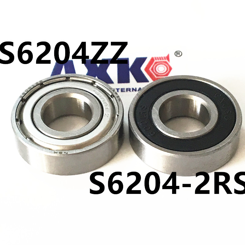 S6204ZZ ABEC-1  20x47x14mm Stainless Steel Ball Bearing Miniature S6204-2RS S6204ZZ SB6204ZZ 20*47*14 mm smr62zz abec 1 10pcs 2x6x2 5mm stainless steel miniature ball bearings smr62zz