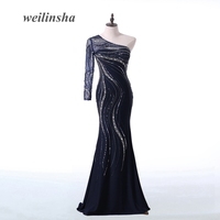 ADLN Luxury Beaded Crytstal Evening Dresses One Shoulder Long Sleeve Sparkling Mermaid Party Prom Gowns New