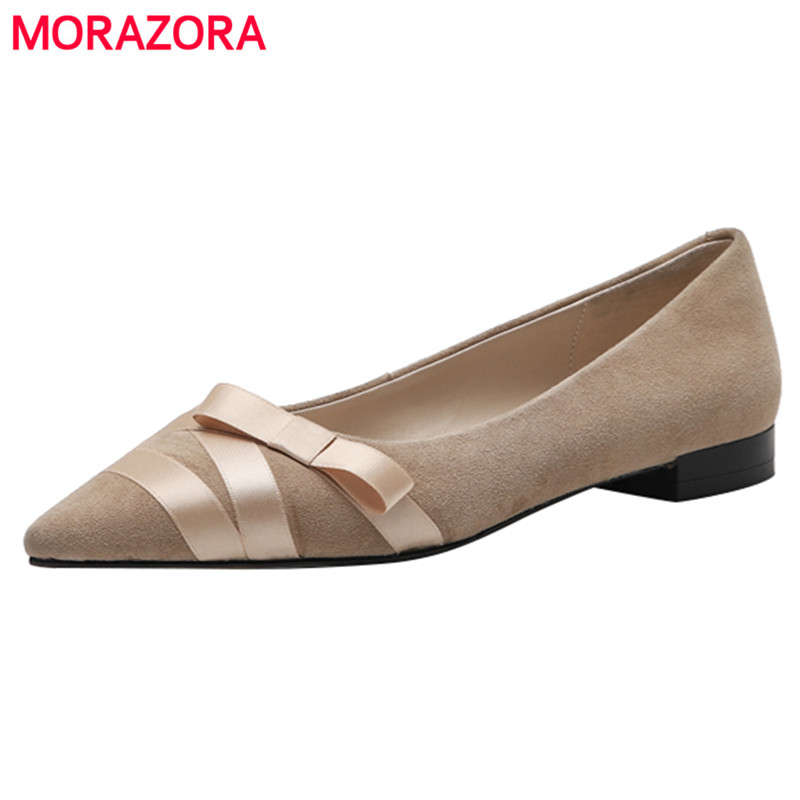 MORAZORA 2019 new arrival suede leather women pumps pointed toe spring summer shoes shallow comfortable low heels shoes woman MORAZORA 2019 new arrival suede leather women pumps pointed toe spring summer shoes shallow comfortable low heels shoes woman
