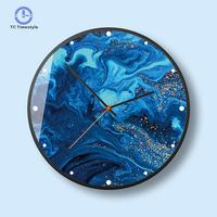 Wall Clocks Blue Tone Gold Fashion Nordic Minimalist Style Wall Clock Bedroom Living Room Home Essential Watches