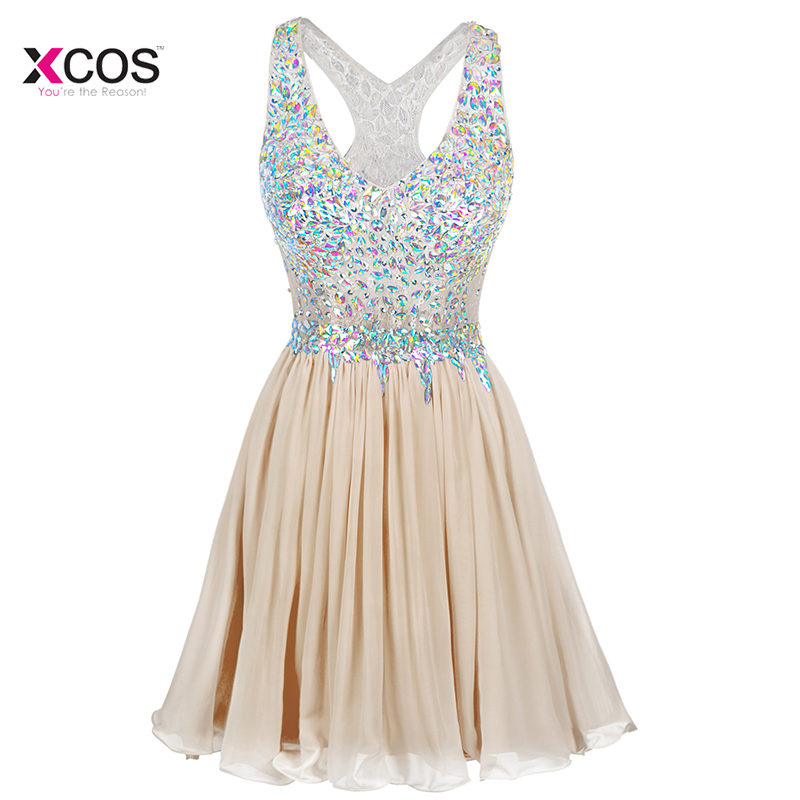 V Neck Short Crystal Beaded   Cocktail     Dresses   Knee Length Formal Homecoming Party   Dress   Vestido   Cocktail