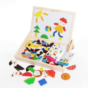 Candice guo! super funny toy educational wooden toy magnetic puzzle DIY baby early learning kids birthday Christmas gift 1pc