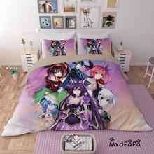 Mxdfafa Anime DATE A LIVE Comforter Bedding Sets Duvet Cover Set 3pc set Include 1 and 2 dakimakura cover