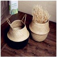 Manual storage basket Restore folding straw bag software decorative flower basket flower pot set sympathy baskets