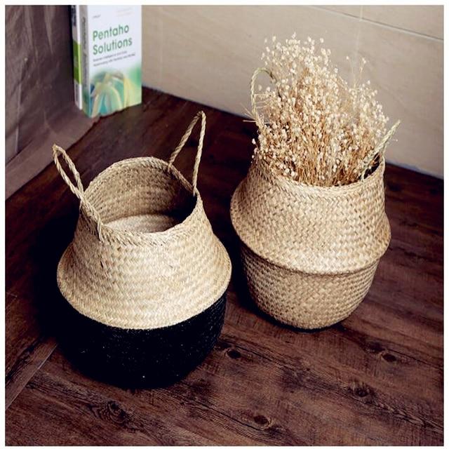 Restaurar saco dobr vel de palha cesta de armazenamento de software manual decorativo cesta de - Cestos decorativos ...