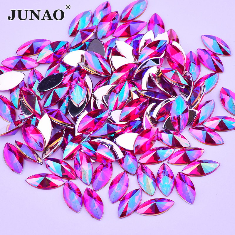JUNAO 7 15mm Rose AB Crystals Flat Back Rhinestones Glue Strass Crystal  Stones Non Sewing c1de5716e239
