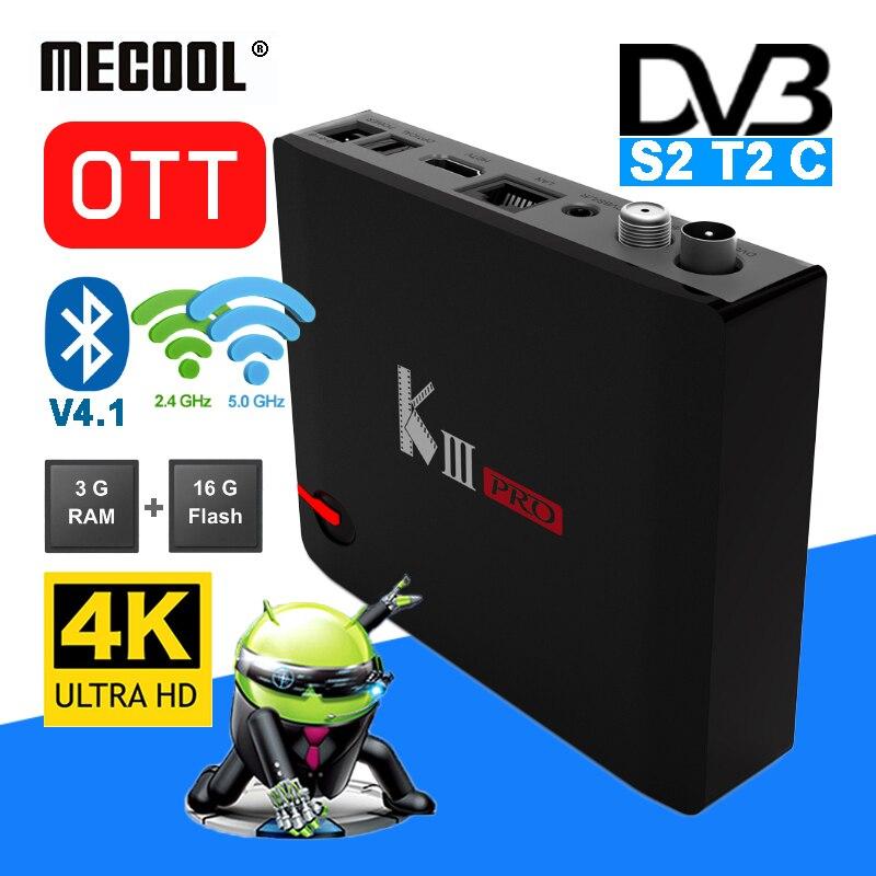 MECOOL KIII Pro г 3g 16 г DVB S S2 T T2 C Combo Smart ОТТ ТВ коробка Amlogic S912 8-ядерный комплект верхней коробки двойной Wi-Fi 4 K HD медиа-плеер