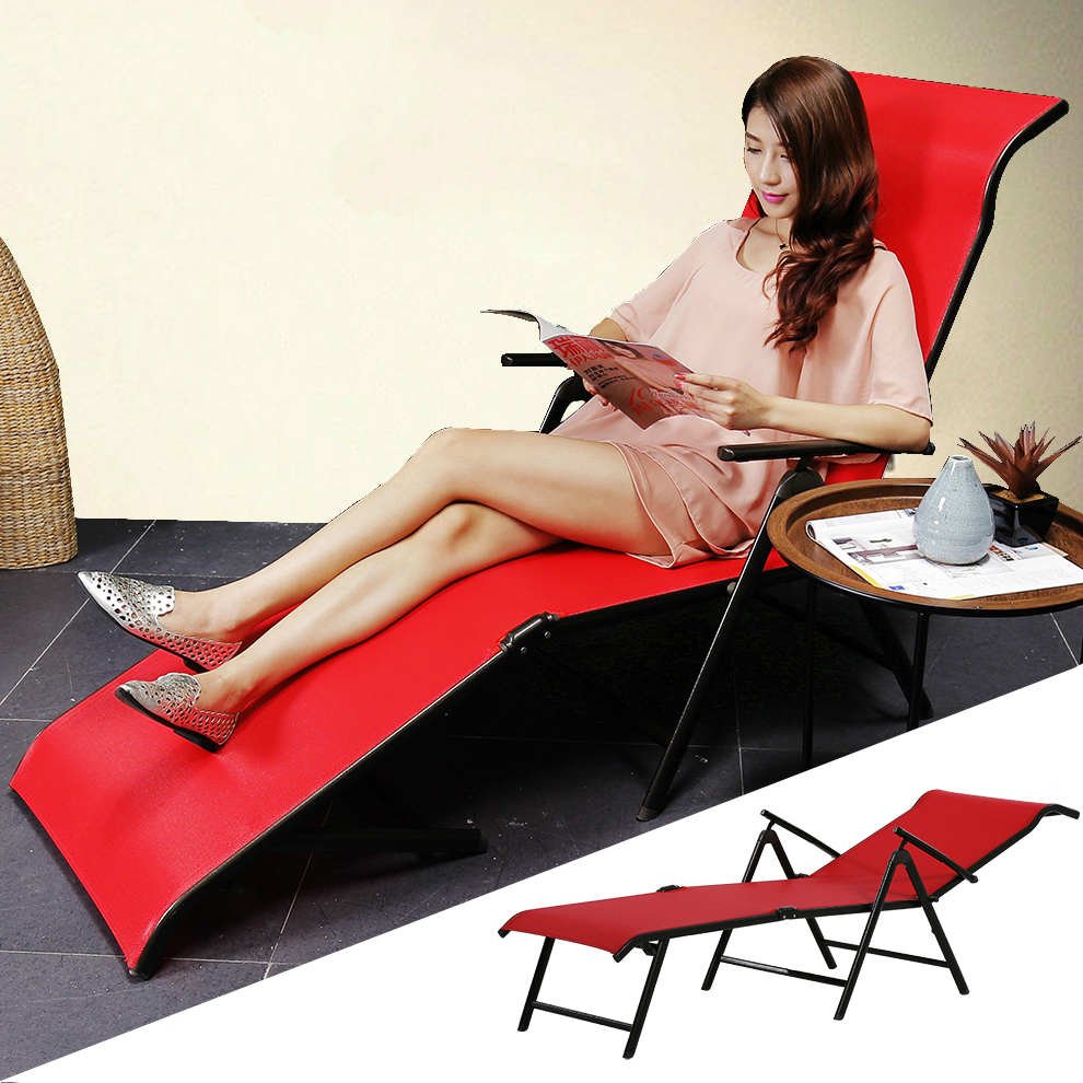 Multifunctional Foldable Sun Lounger Outdoor Beach Long Chair Bed Adjustable Angle Breathable Balcony Leisure Chair Furniture|sun loungers|outdoor sun lounger|outdoor lounger - title=