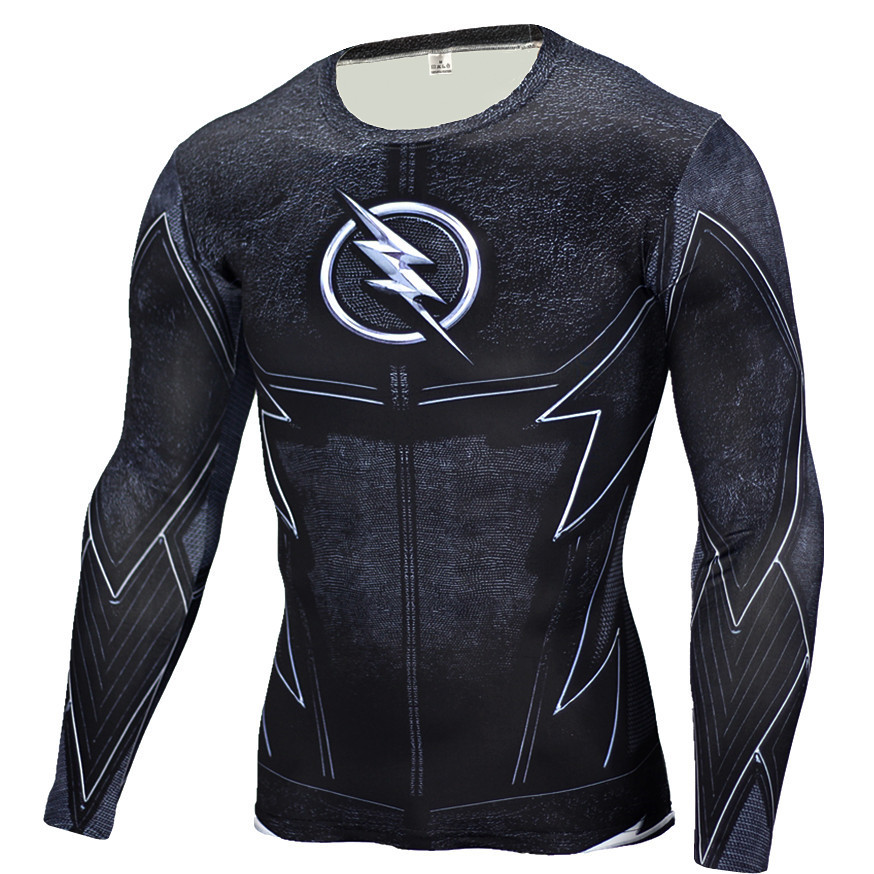 New 2018 Heroic superhero long sleeved T-shirt tight men fitness clothes fast riding