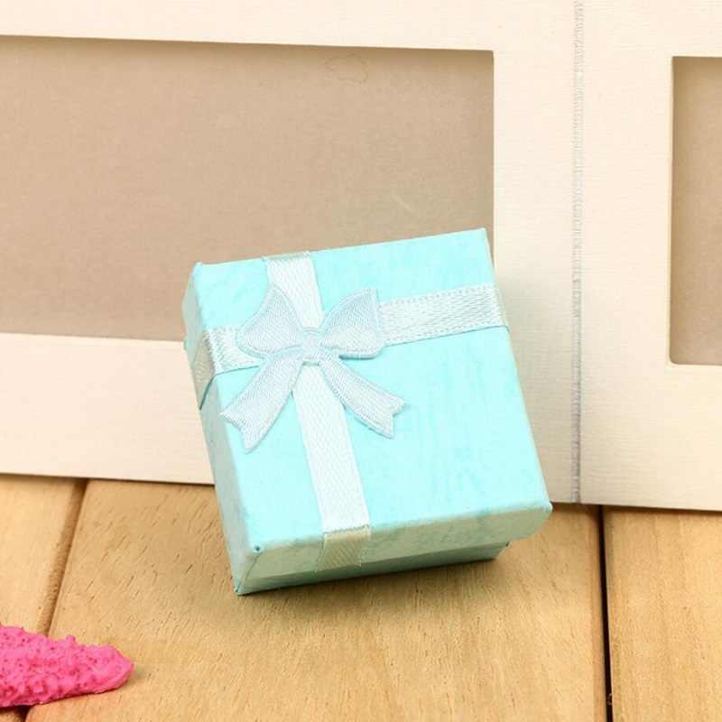 Коробочка для драгоценностей кольца, шкатулки/серьги для хранения маленькая Подарочная коробка DIY ремесло Мода красочные 4*4 см бант красочные wh