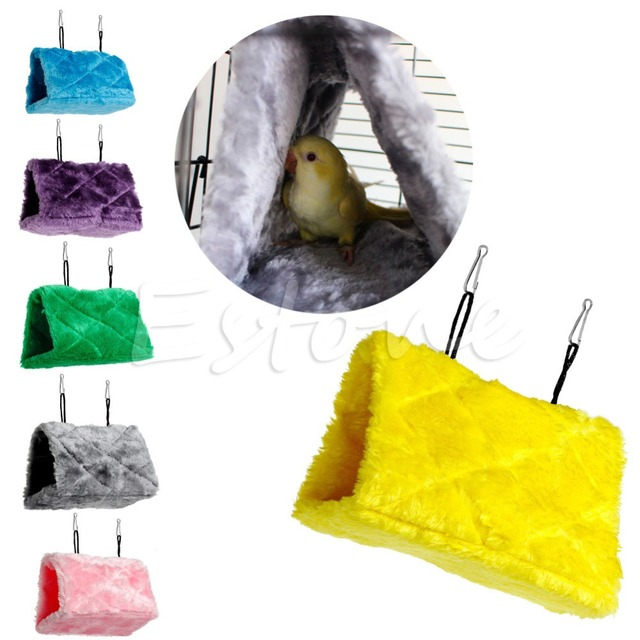 Plush Bird Hanging Cave Cage Snuggle Happy Hut Tent Bed Bunk Toy Parrot Hammock