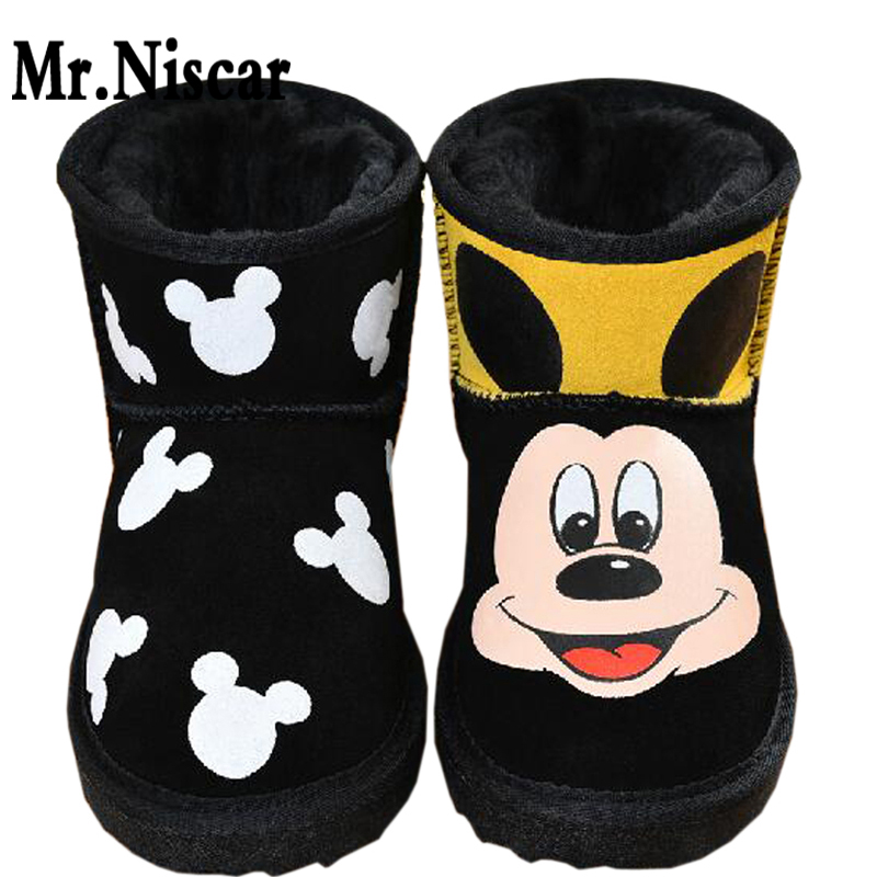 LEO Girls Women Leather Cute Cartoon Mouse Hand Painted Snow Boot Shoes Anime Figure Lady Graffiti Winter Boots for Female