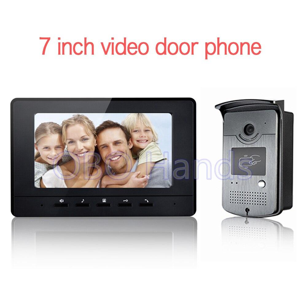 Free Shipping 7 inch Color Video door phone Intercom system doorphone kit IR system outdoor Metal panel with Pinhole camera