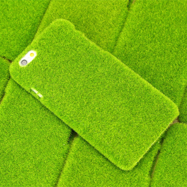 10x Fresh 3D Green Grass Lawn Case Japan Simulation Plush Furry Anti-knock Shockproof Cover for Iphone 7 7Plus 6 6 Plus 5 5S SE
