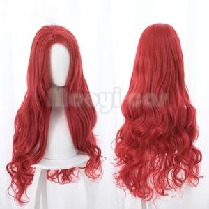 Image 2 - Aquaman Mera פאת קוספליי האמריקאי אנימה סרט 85 cm ארוך מתולתל גלי חום עמיד סינטטי שיער נשים תלבושות המפלגה פאה אדום